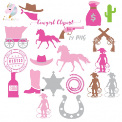 Cowgirl clipart, cowboy clip art, pink cowgirl, bandit hat, horse shoe,  yellow sheriff badge, pink carriage, crossed guns, birthday girl