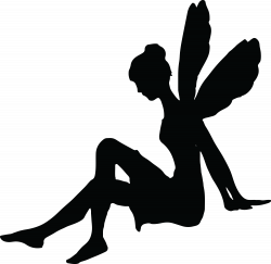 free.clipartof.com 1064-Free-Clipart-Of-A-Sitting-Fairy-Silhouette ...