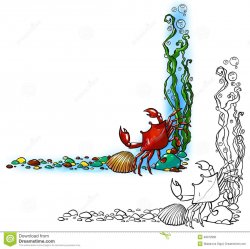 Sea border with crab and shell. Illustration about cyan ...