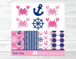 Pink Crab Clipart / Crab Baby Shower / Pink & Navy ...