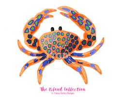 Preppy Crab clip art - Original Art download, orange and ...