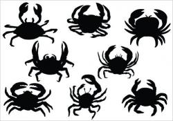 Crab Silhouette Vector Clipart | Sillouette | Silhouette ...