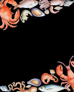 Seafood Crab - Vector seafood border background 1667*2083 transprent ...