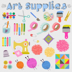 Art Supplies Clipart - Painting Clipart, Sewing Clipart, Crafting Clipart,  Craft Supplies Clipart, Digital Clipart - Instant Download PNGs