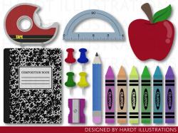 Back to School Clipart, School Supplies Clipart, Crayons Clipart, Classroom  Clipart, Teacher Clipart, School Clip Art, School Graphics
