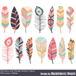 Feather Clipart, Digital Feathers, Feather Clip Art, Pink ...