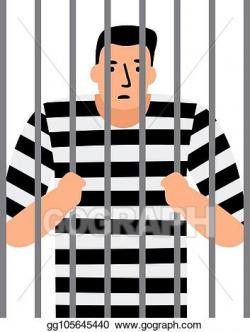 Vector Art - Criminal man in jail. EPS clipart gg105645440 ...