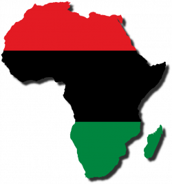 A flag-map of the ' cradle of humanity' with the Pan-African flag ...