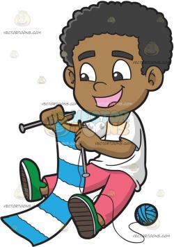 A Happy Black Boy Knitting A Scarf | knitting | Clip art ...