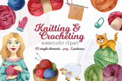Watercolor Knitting and Crocheting Set