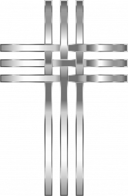 Clipart - Interlocked Stylized Stainless Steel Cross No Background