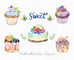 watercolor clipart. watercolor cake. Bakery Clipart. cupcake ...