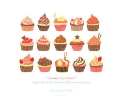 Sweet Cupcakes Clipart, Bakery, Cake, Chocolate,Decoration, Valentine  Cupcake, Wedding Cupcake, Birthday Party Cupcake - High Quality 300dpi
