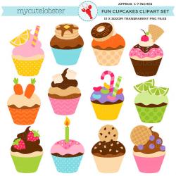 Fun Cupcakes Clipart Set clip art set of cupcakes candy