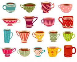 Tea cups Clipart, Tea party clipart, Mugs clip art, Coffee Mugs ...
