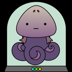 Clipart - Cute alien squid monster in tank