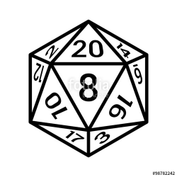 20 sided / 20d dice with numbers line art icon for apps and ...