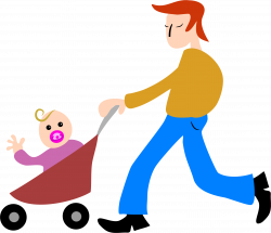 Clipart - Father And Son Stroller
