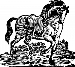 Clipart - woodcut horse