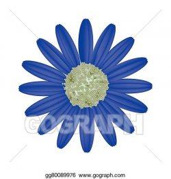 Vector Stock - Blue daisy flower on a white background ...