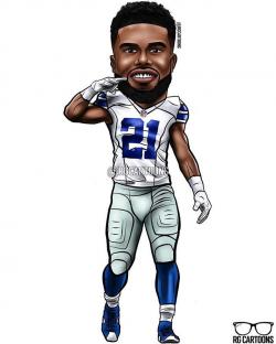Ezekiel Elliott Dallas Cowboys #rgcartoons #dallascowboys ...
