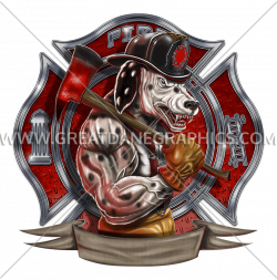 Firefighter Dalmation | Production Ready Artwork for T-Shirt Printing