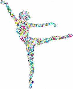 Clipart - Polychromatic Tiled Lithe Dancing Woman Silhouette 2 No ...