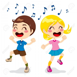 Kids Singing And Dancing Clipart - Letters