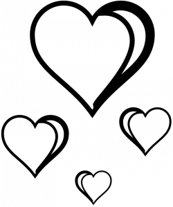 Happy valentines day in hearts clipart in black and white collection