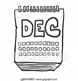 Vector Art - Black and white freehand drawn cartoon calendar ...
