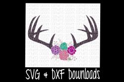 Floral Antlers SVG * Antique Flowers * Deer Antler SVG Cut File by ...