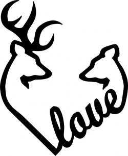 Browning Love Heart Deer Buck and Doe vinyl decal | wood ...