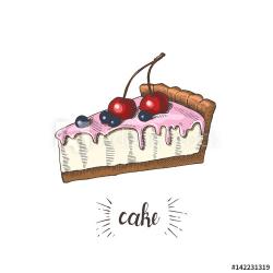 Vector hand drawn slice of cheesecake with cream, cherries ...
