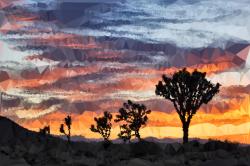 Clipart - Low Poly Desert Landscape Sunset