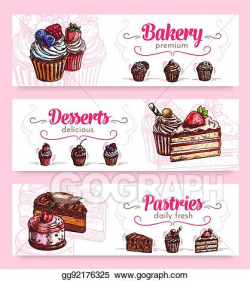 Vector Clipart - Cake and cupcake desserts banner for food ...