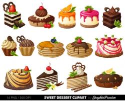 Cake Digital Clipart Pastry Clip art Sweet Treat Cake clip art Dessert  Vector graphic Digital scrapbooking Card design invitations