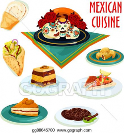 Vector Clipart - Mexican cuisine desserts and snacks ...