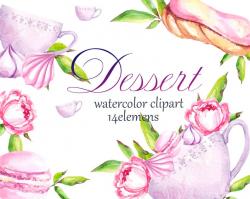 Dessert clipart, Watercolor clipArt dessert. Tea clipart. Macaroon clipart,  Spring clipart
