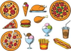 Fast Food, Drinks and Desserts Menu Snacks premium clipart ...