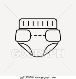 Vector Clipart - Baby diaper line icon. Vector Illustration ...