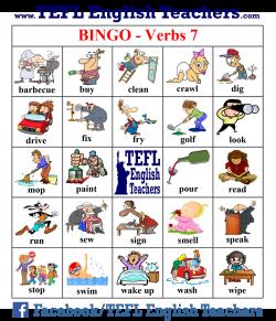 TEFL English Teachers - BINGO Verbs game board 7 of 20   enkku ...