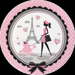 Paris Party Dinner Plates, Little Girl Luncheon Plates, Eiffel Tower ...