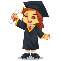Girl graduation with toga and certificate. Premium Vector ...