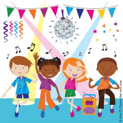 Dance Clipart Disco Kids Party Children Boy Girl Dancing Cute Vector ...