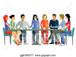 Vector Clipart - Team discussion. Vector Illustration ...