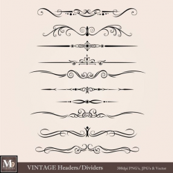 VINTAGE Header Clip Art: Vintage Accent Clipart Design ...