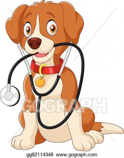 EPS Vector - Cute dog sitting with stethoscope. Stock ...