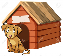 Sad looking dog in front of doghouse » Clipart Portal