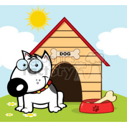 12819 RF Clipart Illustration Smiling Bull Terrier With A Bone In His Dish  Outside His Dog House clipart. Royalty-free clipart # 385102