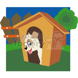 White puppy in it's dog house clipart. Royalty-free clipart # 131912